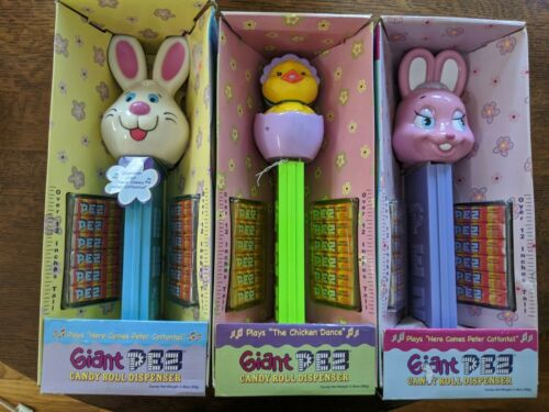 "Pez - Giant Pez Easter Set - Chick In Egg - Both Easter Bunnies - NEW - 12"" Talk"
