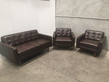 Nick Scali Leather Lounge Suite Set 2x Armchairs + Sofa RRP $6070