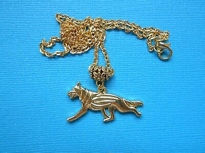 German Shepherd Dog Necklace Pendant Puppy Metal Chain Gold Tone GSD Alsatian for sale  Shipping to Nigeria