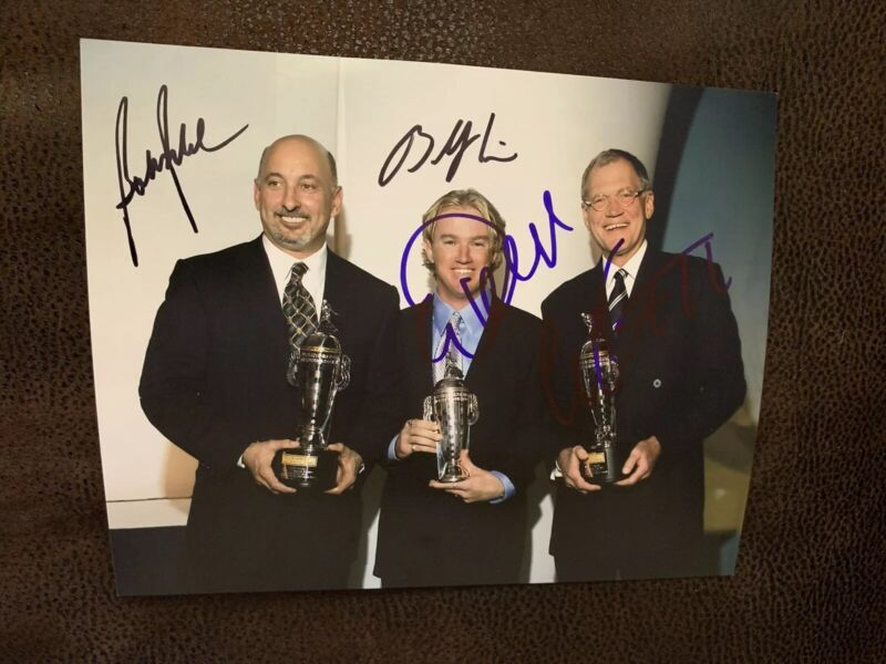 David Letterman Bobby Rahal Buddy Rice Signed 2004 Indianapolis 500 Indy 8x10