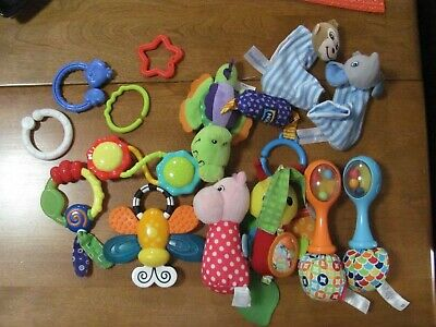 Baby Toys Nice Lot Of Soft Animals, Teethers, Hanging Toys, Rattles, Etc Clean