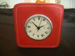 Contemporary Red Leather QUARTZ TABLE CLOCK White Stitching
