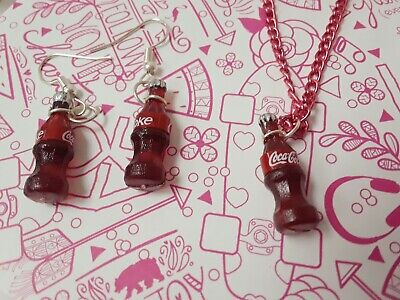 Jewelry set kawaii coca cola mini bottles funny cute earrings necklace red brown