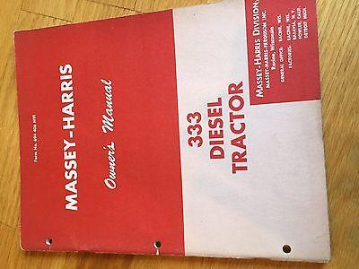 Massey Harris 333 Diesel Tractor Operator Operators Manual