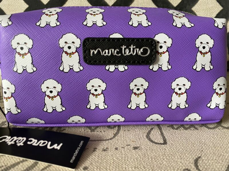 NEW Marc Tetro Bichon Frise Cosmetic Makeup Bag Case Purple White