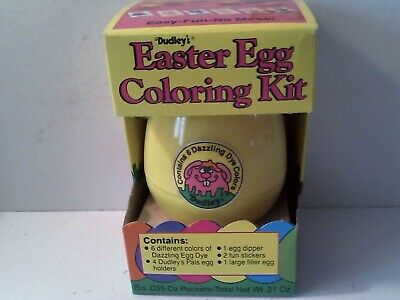 1986 DUDLEY'S EASTER EGG DYE COLORING KIT COMPLETE IN ORIGINAL BOX - YELLOW (Easter Egg Colors)