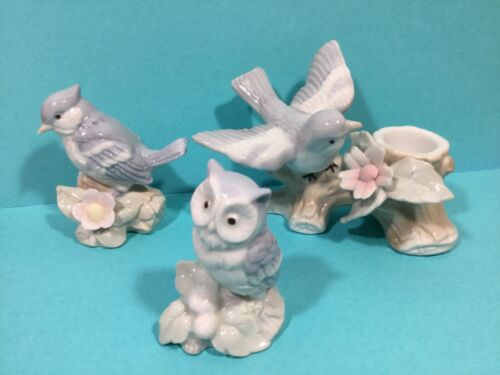 Lot of Vintage 3 George Good Porcelain White Bird Figurines With Flower & Owl