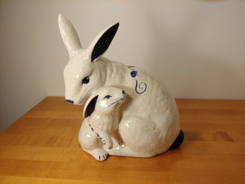 """Dedham Pottery Potting Shed Mother Bunny Rabbit & Baby 10"""" Figurine Statue"""