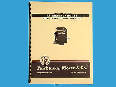 Fairbanks Morse Magneto Instruct  Parts Manual For Fm-o1a Fm-o1b Mags 432