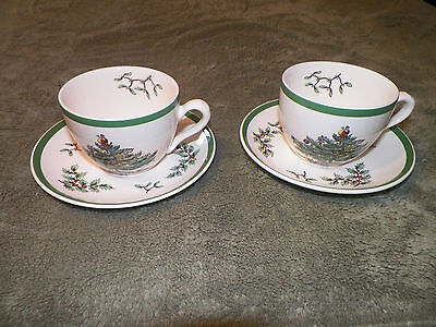 TWO SPODE CHRISTMAS TREE CUPS AND SAUCERS - MADE IN ENGLAND - FREE SHIPPING