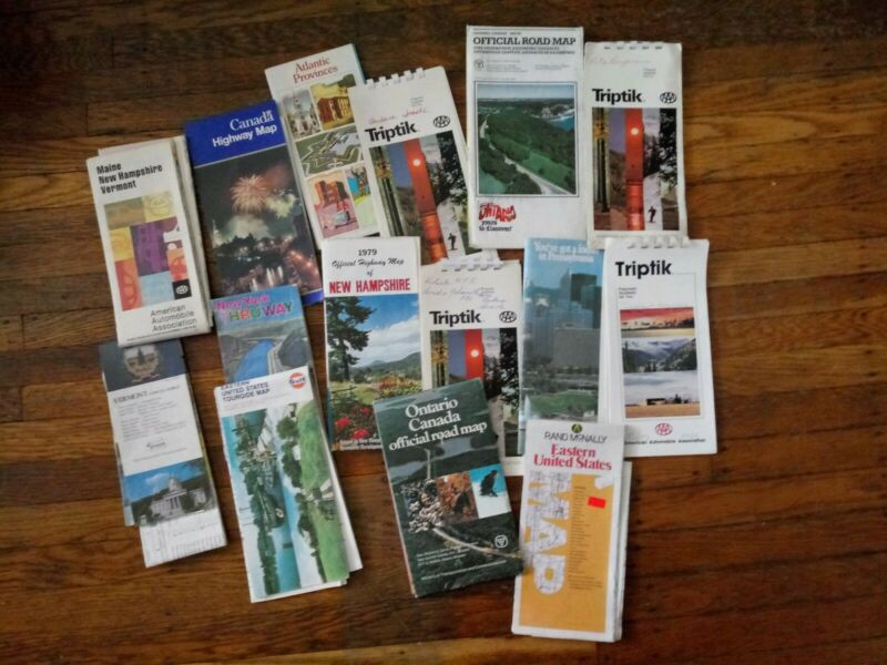 Huge Lot Of 15 Vintage AAA Triptiks + Maps - Ontario New Hampshire Vermont etc