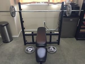Interchangeable Bench Press with bar and weights
