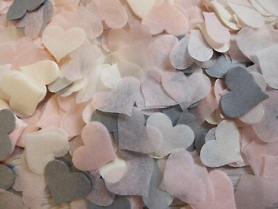 Blush, Ivory, Grey Wedding Confetti Party Hearts  Biodegradable FILL CONES
