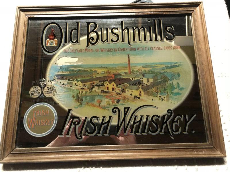 "VINTAGE RARE Old Bushmills Irish Whiskey Bar Adverting Mirror 15 7/8 X 20"""