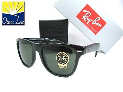 Ray Ban 4105 601 54 Plegable Wayfarer Grande Negro Brillante Gafas de...
