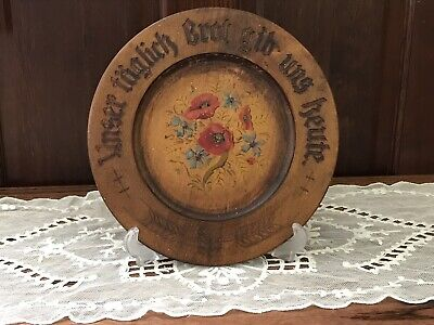 German antique Wooden hand painted bread  Prayer plate w/ edelweiss