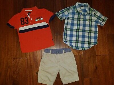 Nautica Gap Boys Summer Clothes Orange Blue Polo Shirts Shorts Set 3 3T Lot