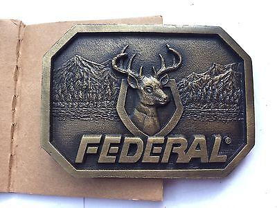 Vintage FEDERAL Deer Buck Mount Belt Buckle by Indiana Metal Craft