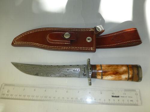 RARE CUSTOM HANDMADE A+ UNIQUE DAMASCUS FORGING KNIFE DAGGER WITH LEATHER SHEATH