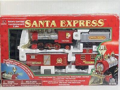 Santa Express Battery Operated Train Set Sounds, Whistle & Smoke Christmas