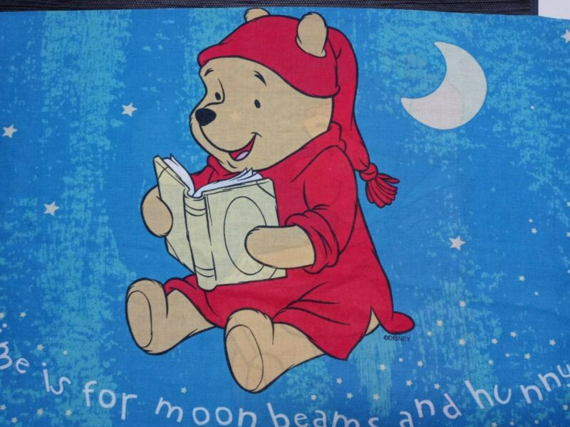 Vintage Pooh Pillow Case Q Is For Quiet Time 2 Sided Standard Size Sweet Dreams
