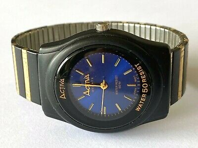 Activa Quartz 50m Japan Movt Wrist Watch Water Resistant Blue Dial Runs