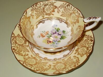 Royal Stafford Soft Yellow Lush Gold Multi-Color Pansies Cup and Saucer