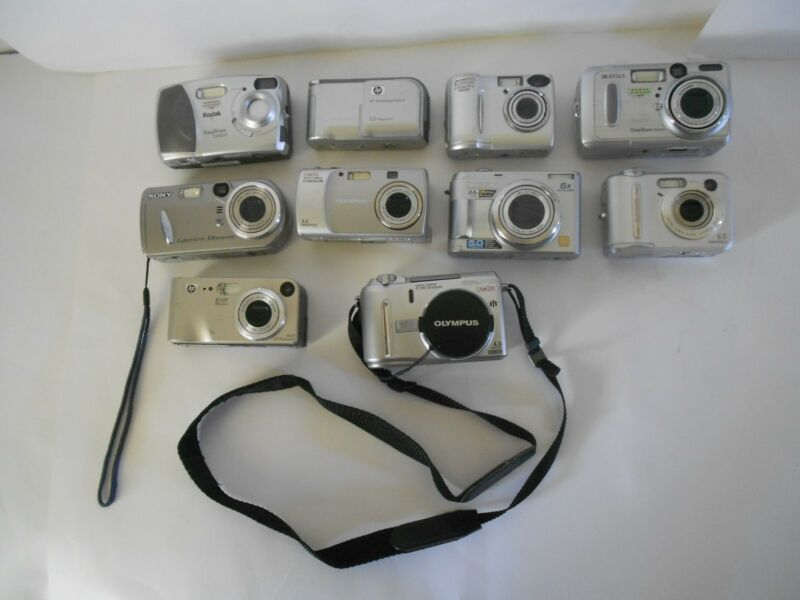 Lot of 10 Digital Cameras for Parts Only,2 Olympus Plus Various Other Brands