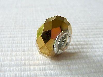 European Bead Perlenelement Großlochperle Glasperle gold 14 mm 1384