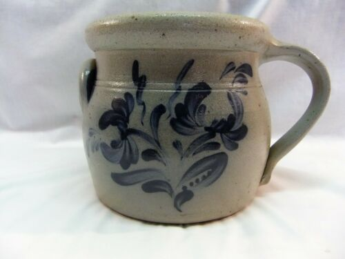 Rowe Pottery Bean Pot, 1988, Salt Glaze, Blue Flowers, Handmade by Hogue Vernon