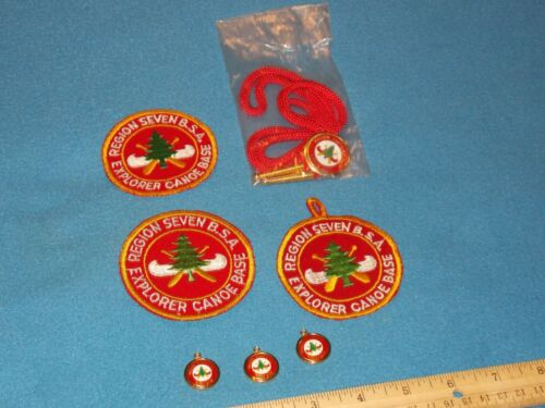 VINTAGE - REGION 7 CANOE BASE LOT OF 7 ITEMS - PATCHES,BOLO,CHARMS