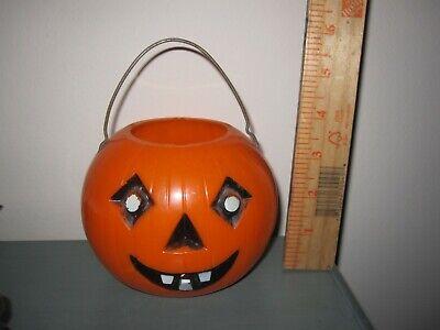 VTG Small Halloween Blow Mold Pumpkin Jack O Lantern Bucket Metal Handle