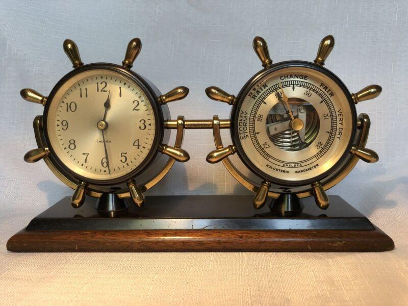 CHELSEA CORVETTE CLOCK & BAROMETER DESK SET- EXCEPTIONAL