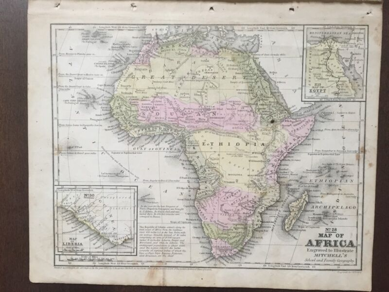 "Hand-Colored Map of Africa (1855)-""Mitchell"