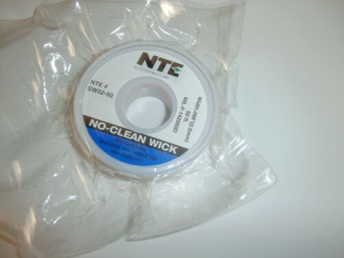 "SW02-50 NTE NO Clean Solder Wick 50 Ft #4 Blue (2.5mm) .098"" W,NEW"