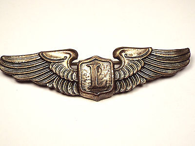 Vintage WWII Army Air Corps LIAISON Pilot Wings STERLING Pinback Badge AMCRAFT