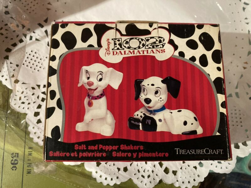 Dalmations Salt and Pepper Shakers  Hand Painted Animal Dog Winter
