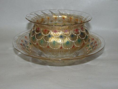 Antique Islamic ? Austrian ? Moser ? Enameled Art Glass bowl w/ Underplate