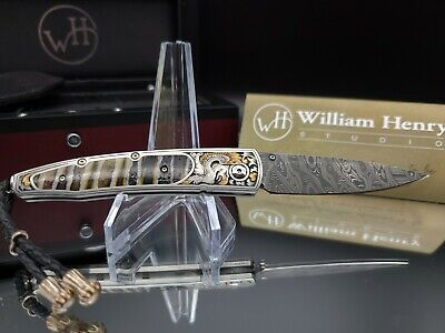 2010 William Henry Knife B10 Lancet Guardian Damascus 24K Gold Military Police