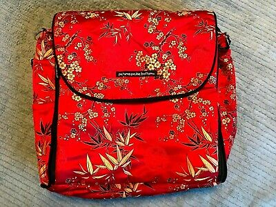 Petunia Pickle Bottom Diaper Bag Backpack Oriental Design Baby Bag Red