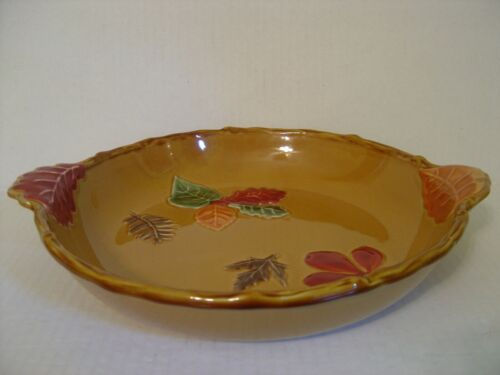 HARVEST PUMPKIN COLORED LARGE PIE PLATE WITH LEAF DECOR AND LEAF HANDLES