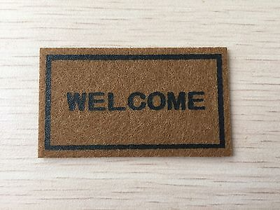 Miniature Dollhouse Welcome Floor Mat Carpet Rug 5.9CM*3.4CM #OR001