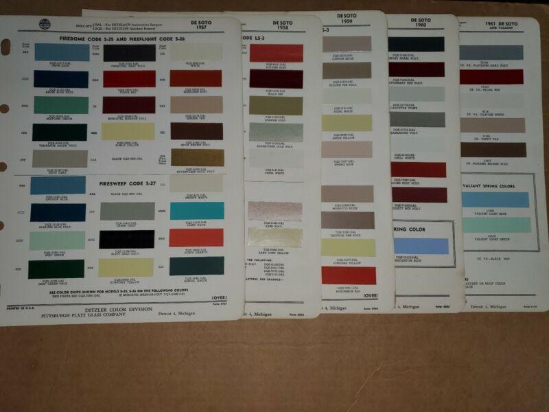 1957/1958/1959/1960/1961 DeSoto paint chip color sheet lot