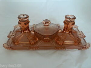 Gorgeous-Art-Deco-Vanity-Dressing-Table-Set-Striking-Amber-Colour-Clear-Frosted
