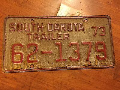 South Dakota  trailer license plate  1973