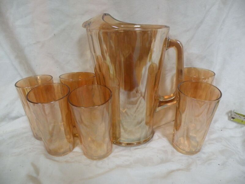 Jeanette Amber Iridescent Honeycomb Pitcher Carnival Depression Glass, 6 glasses