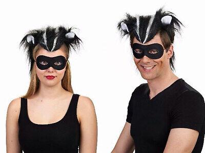 Kostüm Accessoires Waschbär Set mit Maske Skunk Stinktier Karneval Fasching