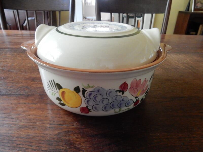 Stangl Fruit and Flowers Vintage Hand Painted Round Lidded Casserole