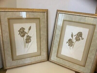 Pair of Wall Art Hand Cast Hand Painted Rag Paper Gold Iris Artist Signed Barnes