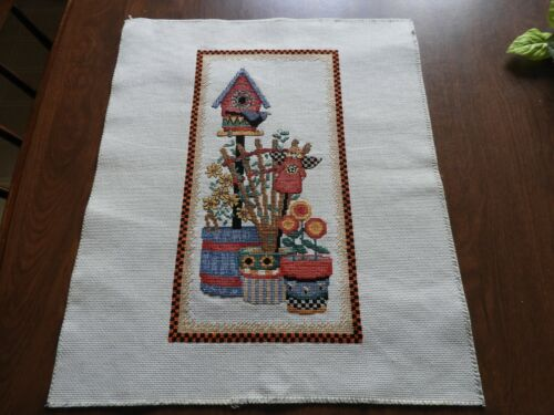 Completed Cross Stitch, Bird House, flowers, plant pots ? Mary Engelbreit